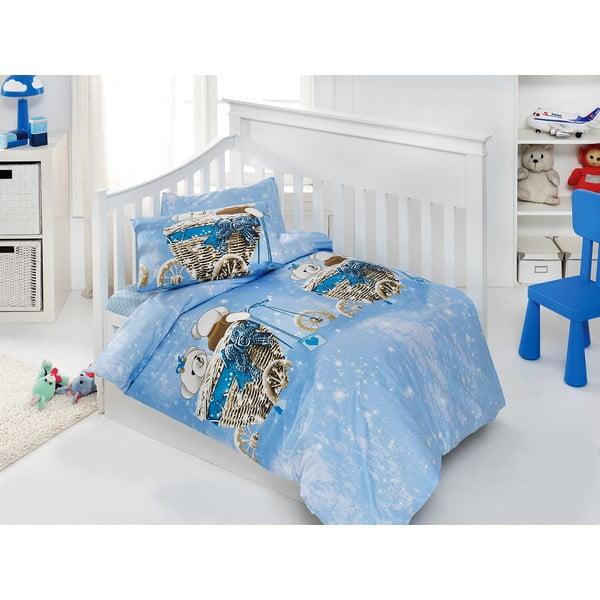 Zestaw dziecięcej pościeli i prześcieradła Sweet Bear Blue, 120x150 cm