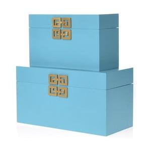 Komplet 2 drewnianych pudełek InArt, turkusowy