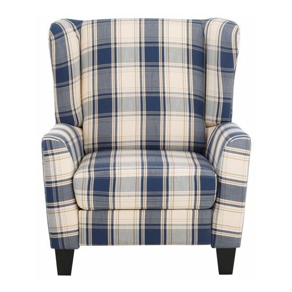 Niebieski fotel rozkładany w kratkę Støraa Aladdin