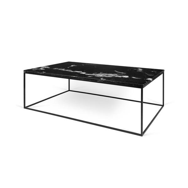 Czarny stolik marmurowy z czarnymi nogami TemaHome Gleam, 120 cm