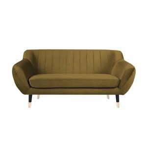 Musztardowa sofa 2-osobowa z czarnymi nogami Mazzini Sofas Benito