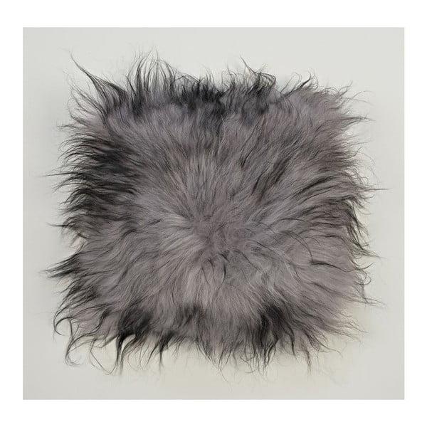 Szara poduszka futrzana z długim włosiem Dark ends, 35x35 cm