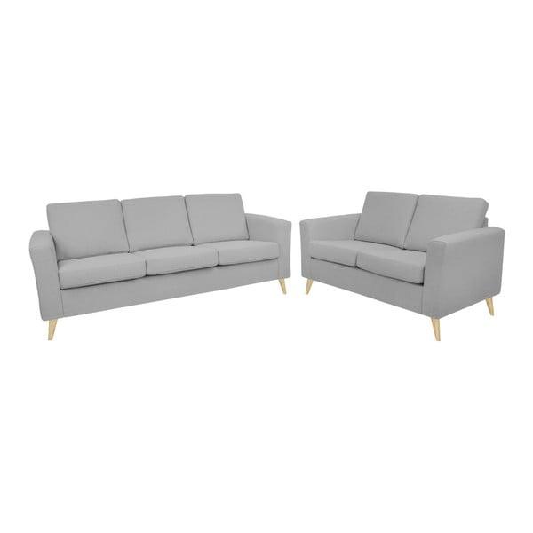 Zestaw jasnoszarej 2-osobowej i 3-osobowej sofy z naturalnymi nogami Helga Interiors Alex