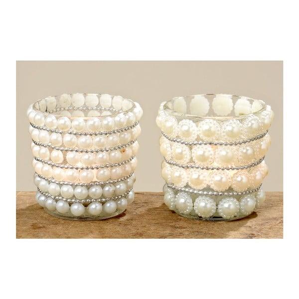 Zestaw 2 świeczników Pearls
