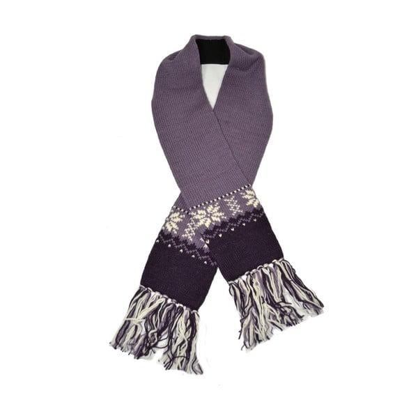 Wełniany szalik z polarową podszewką Violet Snowflake