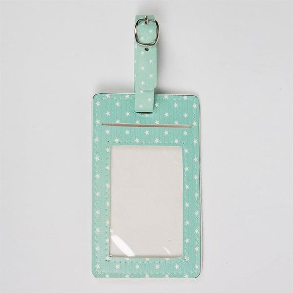 Niebieska etykieta imienna na walizkę Sass & Belle Flamingo