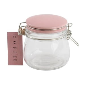 Szklany pojemnik z różową pokrywką Coffee, 500 ml
