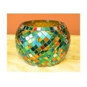 Szklany świecznik Green Mosaic
