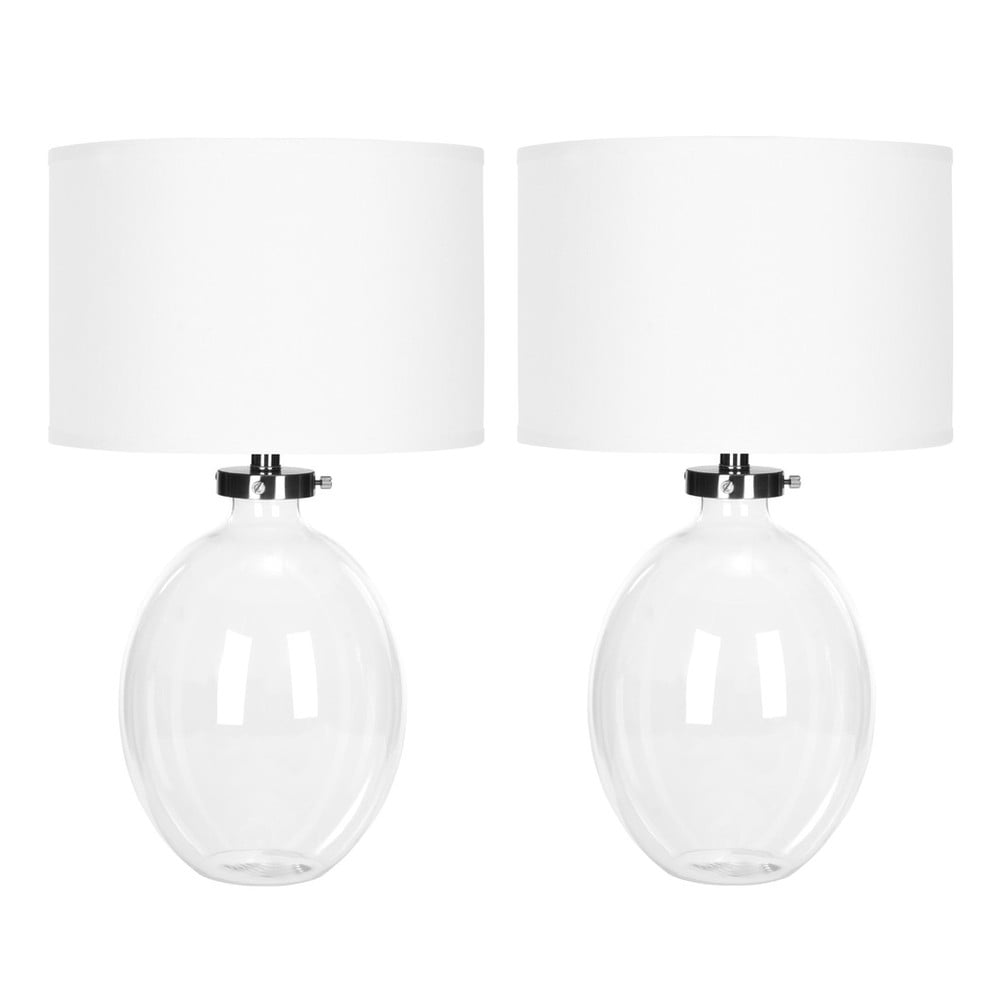 Zestaw 2 białych lamp stołowych Safavieh Alaina