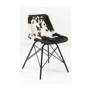 Czarno-białe krzesło do jadalni ze skórzanym obiciem Kare Design Haudy