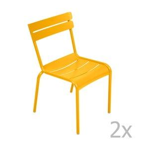 Zestaw 2 żółtych krzeseł Fermob Luxembourg