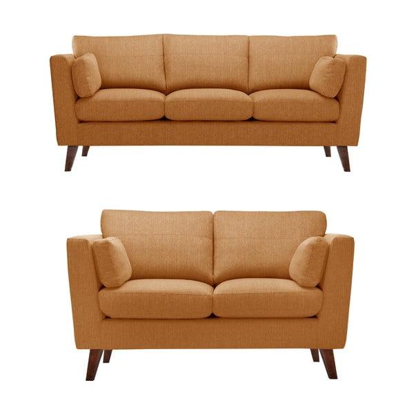 Pomarańczowy zestaw 2 sof dwuosobowej i trzyosobowej Jalouse Maison Elisa