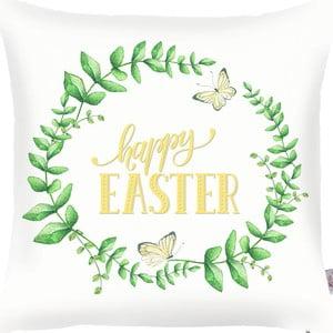 Zielono-biała poszewka na poduszkę Apolena Happy Easter, 43x43cm