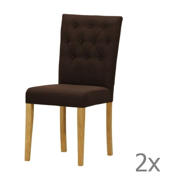 Komplet 2 krzeseł Monako Etna Dark Brown, naturalne nóżki
