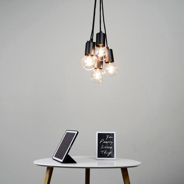 Czarna lampa wisząca z 5 kablami Bulb Attack Cero Group