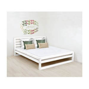 Białe drewniane łóżko 2-osobowe Benlemi DeLuxe, 200x200 cm