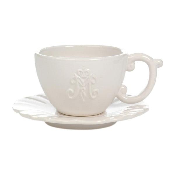 Biała ceramiczna filiżanka ze spodkiem Jolipa