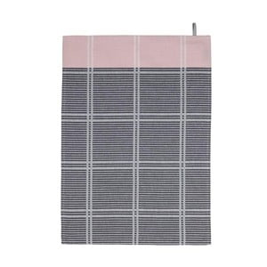 Różowo-szara ścierka kuchenna Södahl Check, 50x70 cm