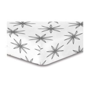 Szaro-białe prześcieradło elastyczne ze wzorem DecoKing Lucky, 220x240 cm