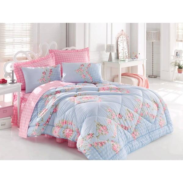 Narzuta, poszewki na poduszkę i ozdobna falbana wokół łóżka Sofi Blue, 195x215 cm