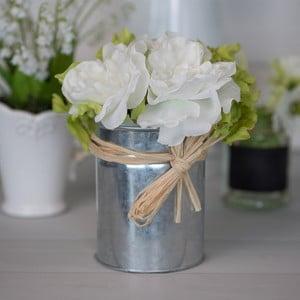 Metalowy wazon ze sztucznymi kwiatami Rose, 21 cm