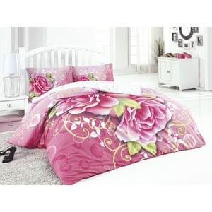 Komplet pościeli z prześcieradłem Pink Rose, 200x220 cm
