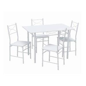 Stół z 4 krzesłami Function White