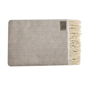 Beżowy pled bawełniany Zig, 130x170cm