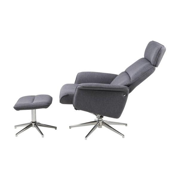Regulowany fotel z podnóżkiem Alura, jasnoszary