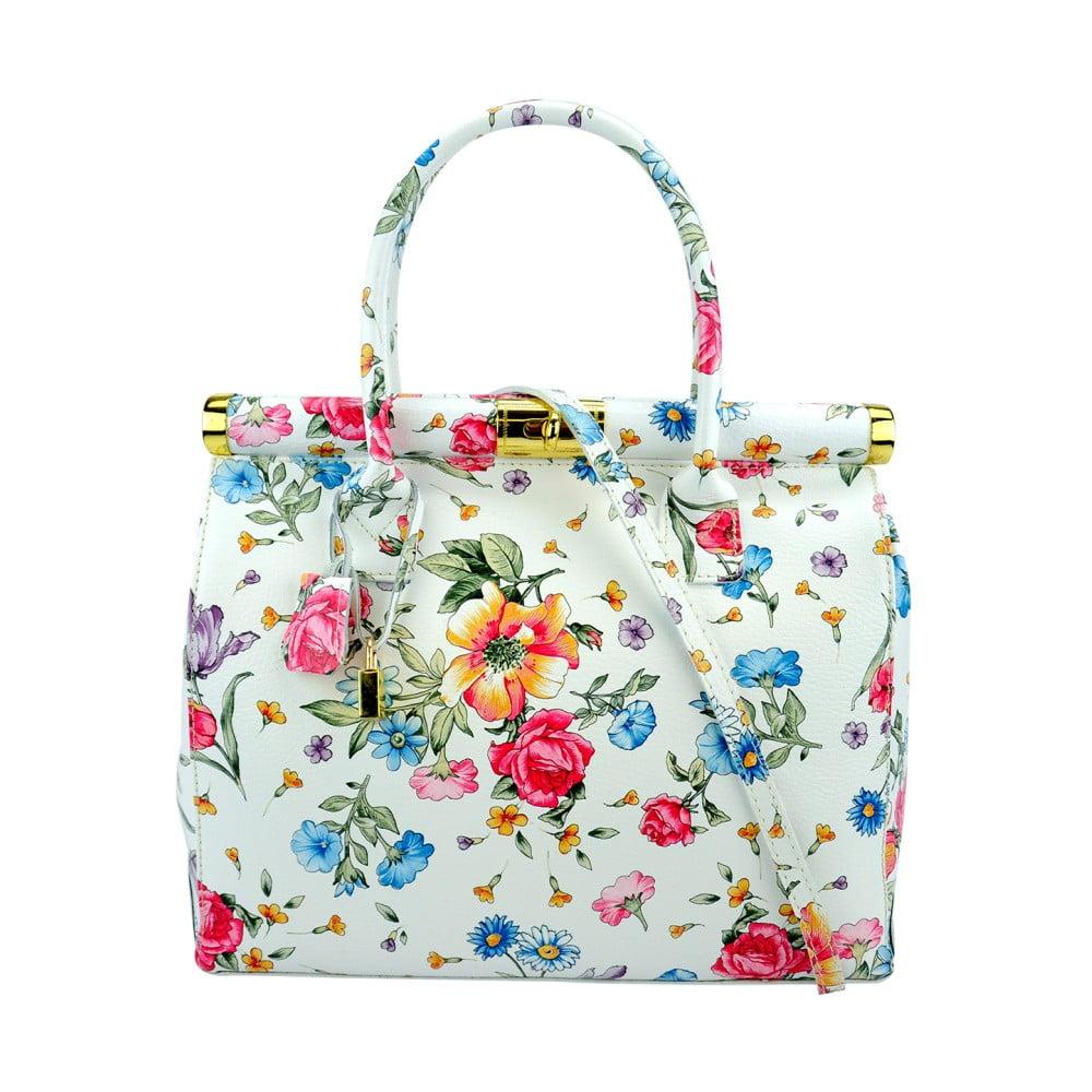 05bb635d7b89b Biała skórzana torebka w kwiaty Pitti Bags Latina