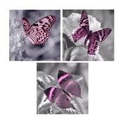 Zestaw 3 obrazów na szkle Motyle, 20x20 cm