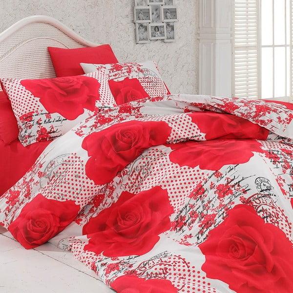 Komplet pościeli z prześcieradłem Red Roses, 200x220 cm