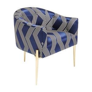 Niebieski fotel z nogami w złotym kolorze Kare Design Kimono