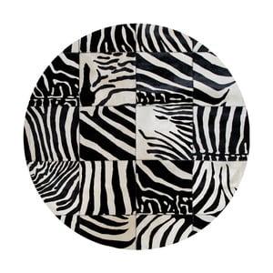 Skórzany dywan z motywem zebry Pipsa Trionom, ⌀ 150 cm