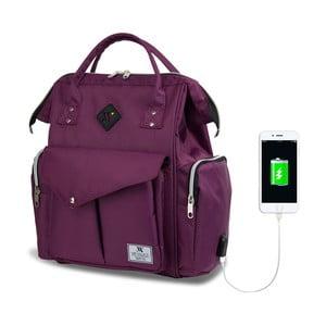 Fialový batoh pro maminky s USB portem My Valice HAPPY MOM Baby Care Backpack