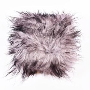 Szara poduszka futrzana z krótkim włosiem Dorio, 35x35 cm