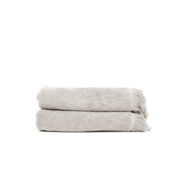 Komplet 2 jasnoszarych ręczników kąpielowych z bawełny Casa Di Bassi, 70x140 cm