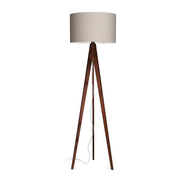 Szara lampa stojąca 4room Artist, brązowa lakierowana brzoza, 150 cm
