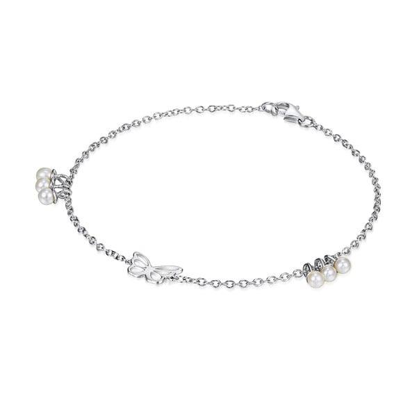 Srebrna   bransoletka z perłami i zawieszką Chakra Pearls Butterfly, 19 cm