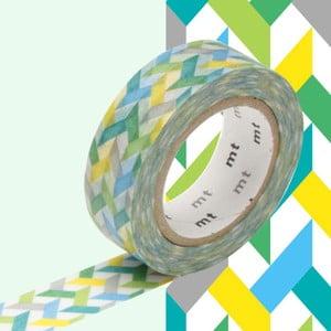 Zielono-żółta taśma dekoracyjna washi MT Masking Tape Slash