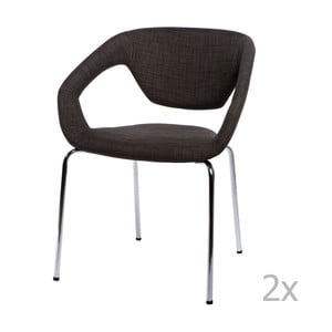 Zestaw 2 krzeseł D2 Space, tapicerowane, brązowe