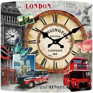 Szklany zegar Londyn, 34x34 cm