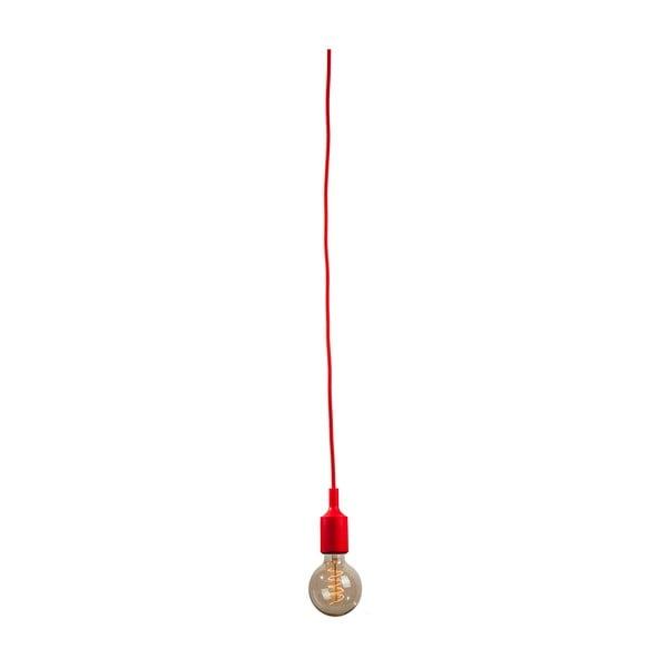 Materiałowy kabel z oprawką 3 m - czerwony