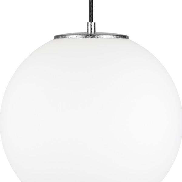 Biała lampa wisząca z oprawką w srebrnym kolorze Sotto Luce TSUKI L