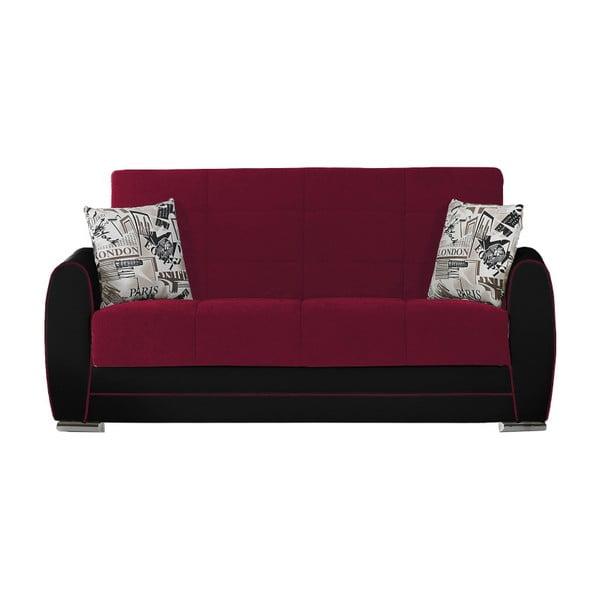 Bordowo-czarna dwuosobowa sofa rozkładana ze schowkiem Esidra Rest