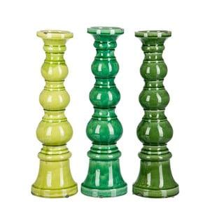 Zestaw 3 świeczników Green Balls, 14x14x36 cm