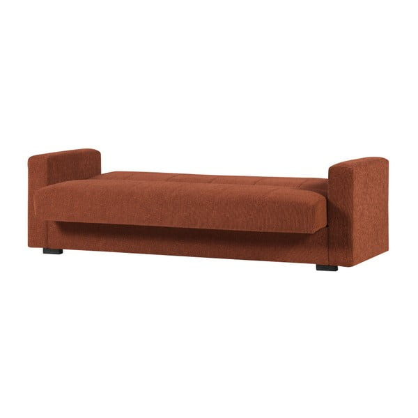 Pomarańczowa dwuosobowa sofa rozkładana ze schowkiem Esidra Relax