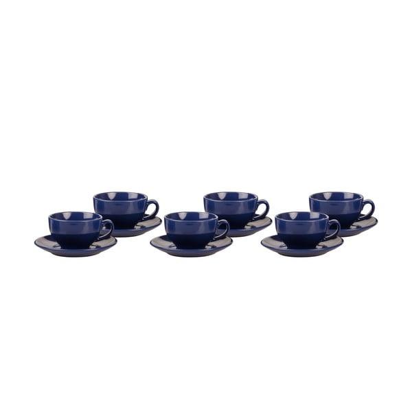 Zestaw 6 filiżanek z podstawkami Kaleidoskop, niebieski