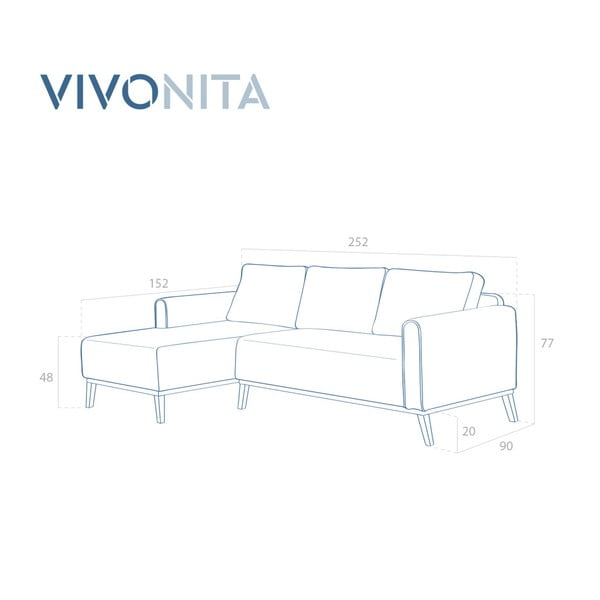 Niebieska lewostronna sofa narożna Vivonita Milton