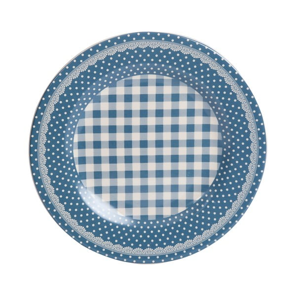 Talerz Blue Dots&Checks, 25.5 cm